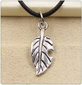 Nobrand No brand Fashion Tibetan Silver Pendant leaf Necklace Choker Charm Black Leather Cord Handmade Jewlery