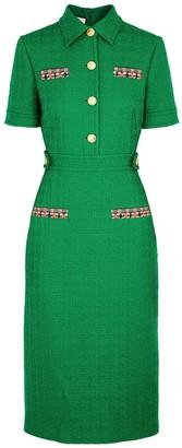 Gucci Green Wool-blend Tweed Midi Dress