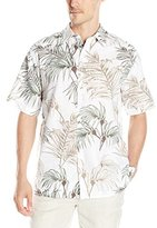 Cubavera Men's Short Sleeve All Over Tropical Print Linen Woven Shirt