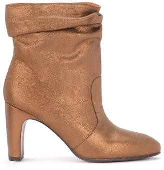 Chie Mihara Evil Ankle Boot In Bronze Laminated Leather
