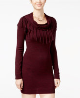 Amy Byer Juniors' Fringed Cowl-Neck Sweater Dress