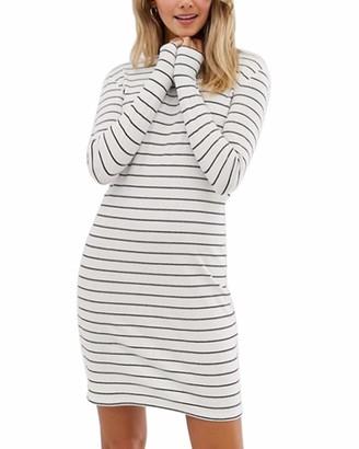 SUNNYME Ladies T Shirt Dresses Casual Long Sleeve Mini Dress Striped Jumper Dress D-White L