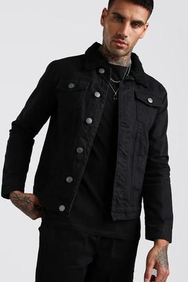 boohoo Mens Black Regular Fit Borg Collar Cord Jacket, Black