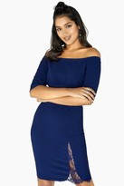 Little Mistress Britney Navy Lace Insert Bardot Dress
