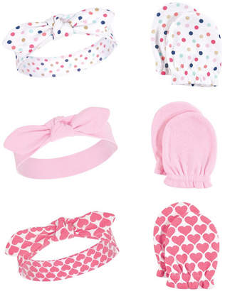 Baby Vision Little Treasure Baby Girl Headband and Scratch Mittens, 6-Piece Set, One Size