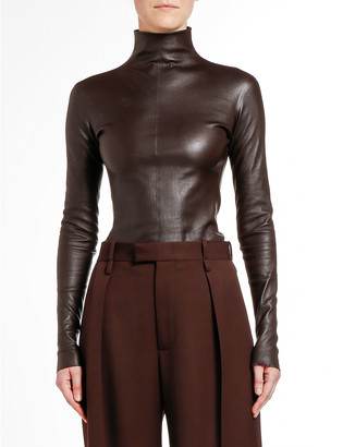 Bottega Veneta Leather Turtleneck Top