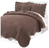 Serenta Diamond Square Quilted Coverlet 4 Piece Bedspread Set, Chestnut, King