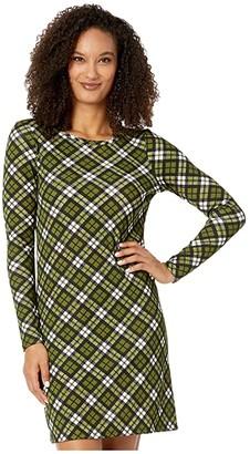 MICHAEL Michael Kors Bias Plaid Long Sleeve Dress (Evergreen) Women's Dress
