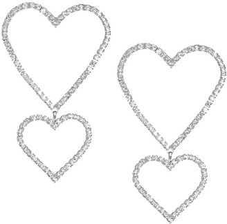 Fallon Double Crystal Pave Heart Drop Earrings