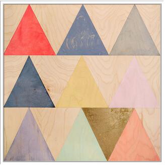 Jonathan Bass Studio Triangle Grid, Decorative Framed Hand Embellished Canvas