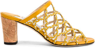 Jimmy Choo Dean 65 Leather Mule in Saffron & Silver | FWRD