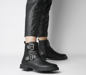 Office Alora Buckle Boots Black Leather W Diamante Rand