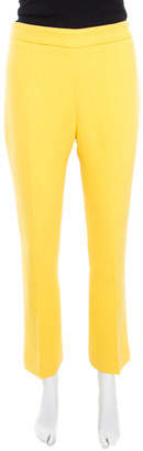 Ermanno Scervino Yellow Wool Crepe High Waist Trousers M
