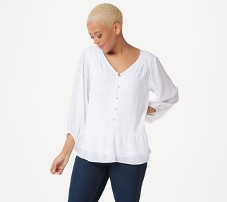 Halston H by Striped Button Front Top with Blouson Sleeves