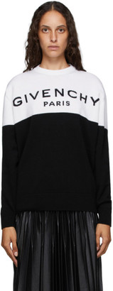 Givenchy Black and White Paris Logo Cashmere Sweater