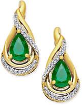Macy's Emerald (3/4 ct. t.w.) and Diamond (1/10 ct. t.w.) Stud Earrings in 14k Gold