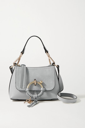 See by Chloe Joan Mini Suede-trimmed Textured-leather Shoulder Bag - Light gray
