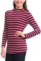Magic Fit Burgundy & White Stripe Mock Neck Top