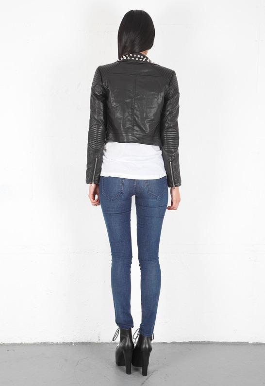 Motel Rocks Tammy Faux Leather Studded Moto Jacket in Black - as seen on Ashley Tisdale -