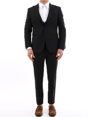 Tonello Black Mohair Wool Suit