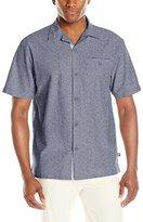 Stacy Adams Men's Melange Linen Blend Short Sleeve Shirt Neutral