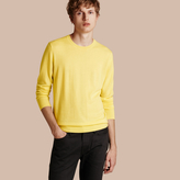 Burberry Lightweight Crew Neck Cashmere Sweater With Check Trim , Size: Xxl, Yellow