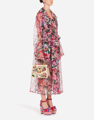 Dolce & Gabbana Violet-Print Organza Trench Coat