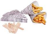 West5Products 25 Newsprint Design Food Safe Chip Shop Cones With Forks