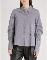 Mo&Co. Gingham ruched-sleeve shirt