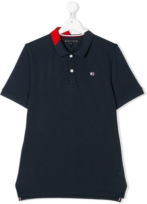 Tommy Hilfiger Junior Logo Patch Side Slit Polo Shirt