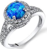 Ice 1 CT TW Lab-Created Blue Opal Sterling Silver Halo Fashion Ring with CZ Accents