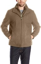 London Fog Men's Wool Blend Stand Collar Jacket with Bib