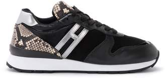 Hogan R261 Sneaker In Black Leather And Suede And Reptile Print Details