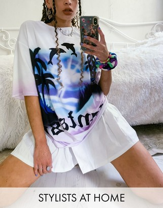 Jaded London oversized t-shirt with fantasy dolphin graphic co-ord