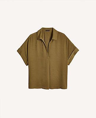 Ann Taylor Zebra Print Split Neck Shirt