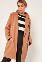 Missguided Short Tailored Wool Coat Camel
