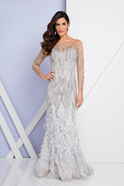 Terani Couture 1721GL4449 Beaded Long Sleeves Feather Fringed Gown