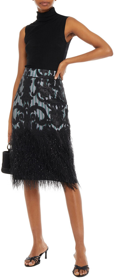 Thumbnail for your product : Ganni Layered Embellished Fil Coupe Organza And Striped Poplin Skirt