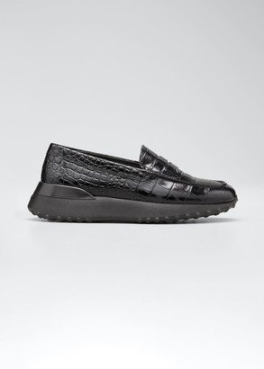 Tod's Fondo Sport Moccasino Printed Leather Loafers