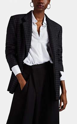 Maison Margiela Women's Checked Padded Wool-Blend Flannel Blazer - Blue