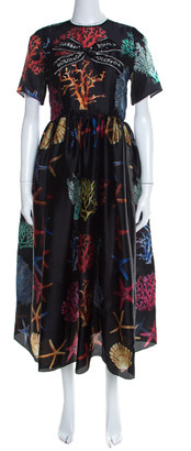 Dolce & Gabbana Black Coral Printed Silk Embellished Bow Detail Maxi Dress S