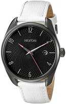 Nixon Women's A473486 Bullet Leather Analog Display Japanese Quartz White Watch