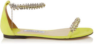 Jimmy Choo SHILOH FLAT Fluorescent Yellow Suede Flat Open Toe Sandal with Jewel Trim