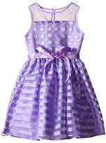 Us Angels Striped Organza Dot Mesh Sleeveless Illusion Dress (Toddler/Little Kids)