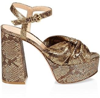 Gianvito Rossi Dallas Snakeskin-Embossed Metallic Leather Plaform Sandals
