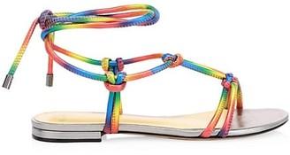 Alexandre Birman Rebecca Knotted Rainbow Flat Leather Sandals