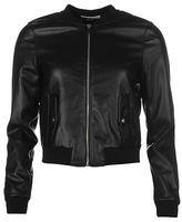 Noisy May Womens Pelu PU Jacket Ribbed Casual Long Sleeve Full Zip Top