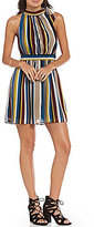 Soulmates Vertical Stripe Tie-Neck A-Line Dress
