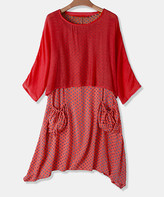 Cellabie CELLABIE Women's Casual Dresses Red - Red Scoop Neck Top & Polka Dot Dress - Women