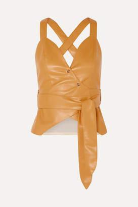 Nanushka Levi Vegan Leather Wrap Top - Mustard